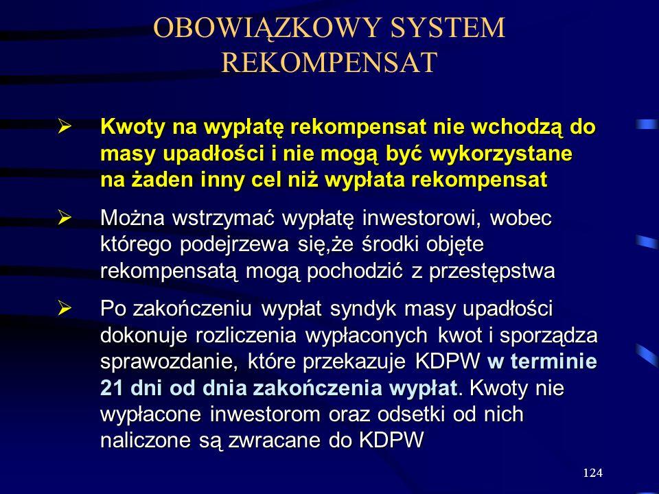 124 OBOWIĄZKOWY SYSTEM REKOMPENSAT Kwoty na wypłatę rekompensat nie wchodzą do masy upadłości i nie mogą być wykorzystane na żaden inny cel niż wypłat
