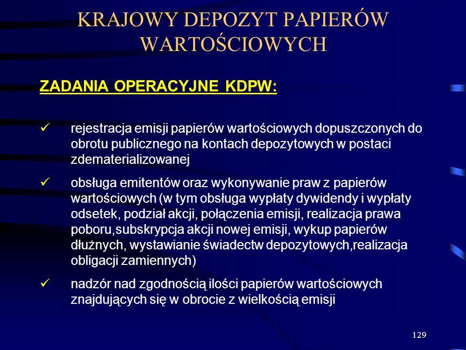 129 KRAJOWY DEPOZYT PAPIERÓW WARTOŚCIOWYCH ZADANIA OPERACYJNE KDPW: rejestracja emisji papierów wartościowych dopuszczonych do obrotu publicznego na k