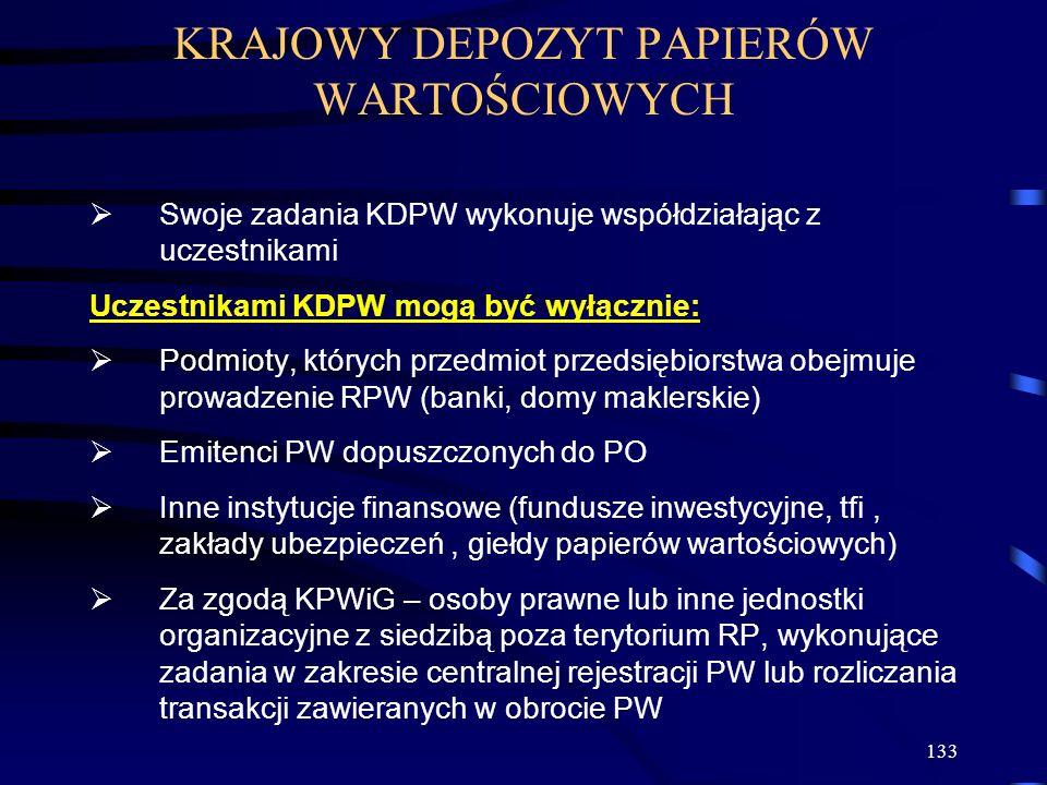 133 KRAJOWY DEPOZYT PAPIERÓW WARTOŚCIOWYCH Swoje zadania KDPW wykonuje współdziałając z uczestnikami Uczestnikami KDPW mogą być wyłącznie: Podmioty, k