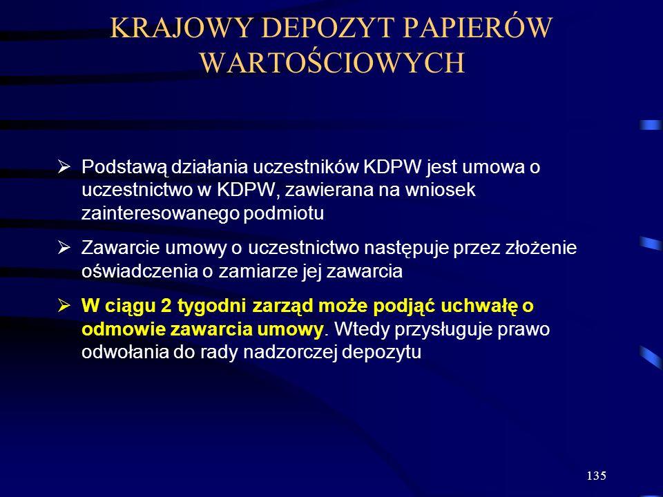 135 Podstawą działania uczestników KDPW jest umowa o uczestnictwo w KDPW, zawierana na wniosek zainteresowanego podmiotu Zawarcie umowy o uczestnictwo