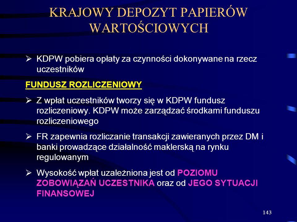 143 KDPW pobiera opłaty za czynności dokonywane na rzecz uczestników FUNDUSZ ROZLICZENIOWY Z wpłat uczestników tworzy się w KDPW fundusz rozliczeniowy.
