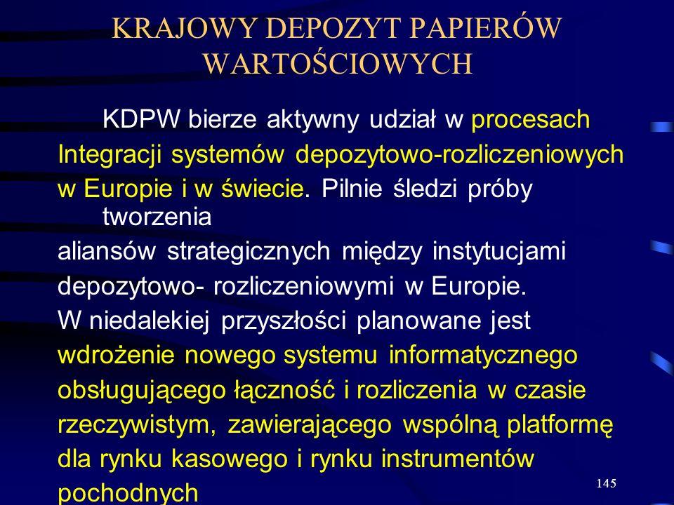 145 KRAJOWY DEPOZYT PAPIERÓW WARTOŚCIOWYCH KDPW bierze aktywny udział w procesach Integracji systemów depozytowo-rozliczeniowych w Europie i w świecie.