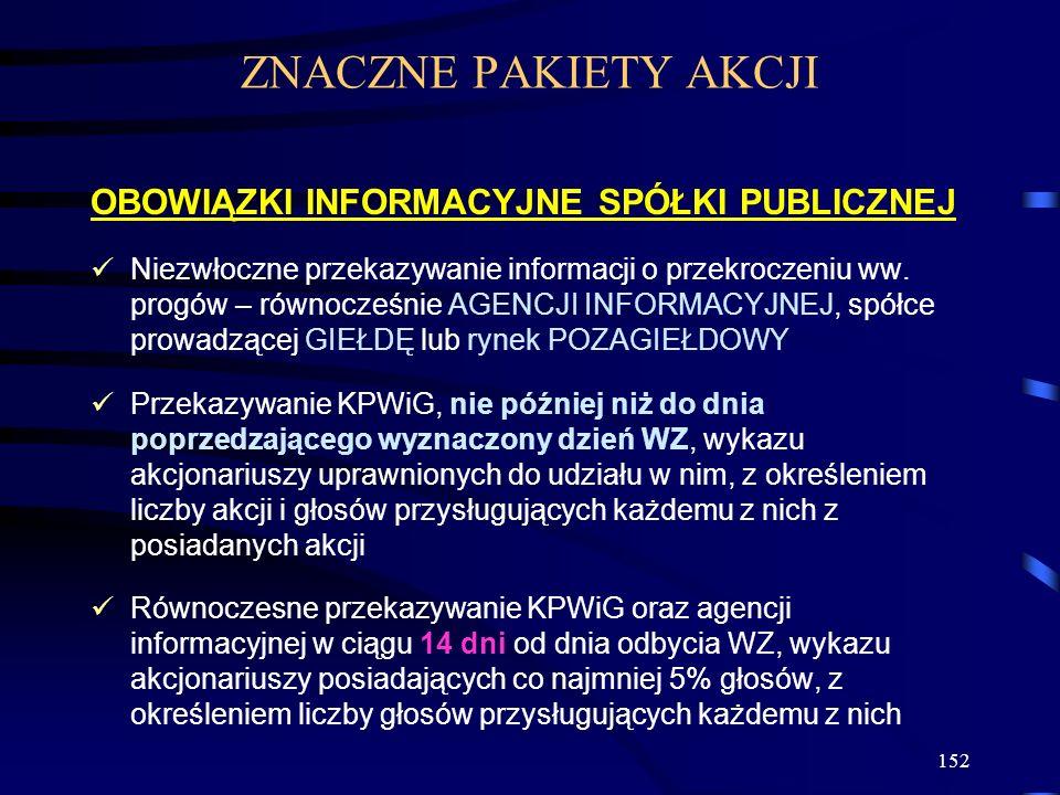 152 OBOWIĄZKI INFORMACYJNE SPÓŁKI PUBLICZNEJ Niezwłoczne przekazywanie informacji o przekroczeniu ww. progów – równocześnie AGENCJI INFORMACYJNEJ, spó