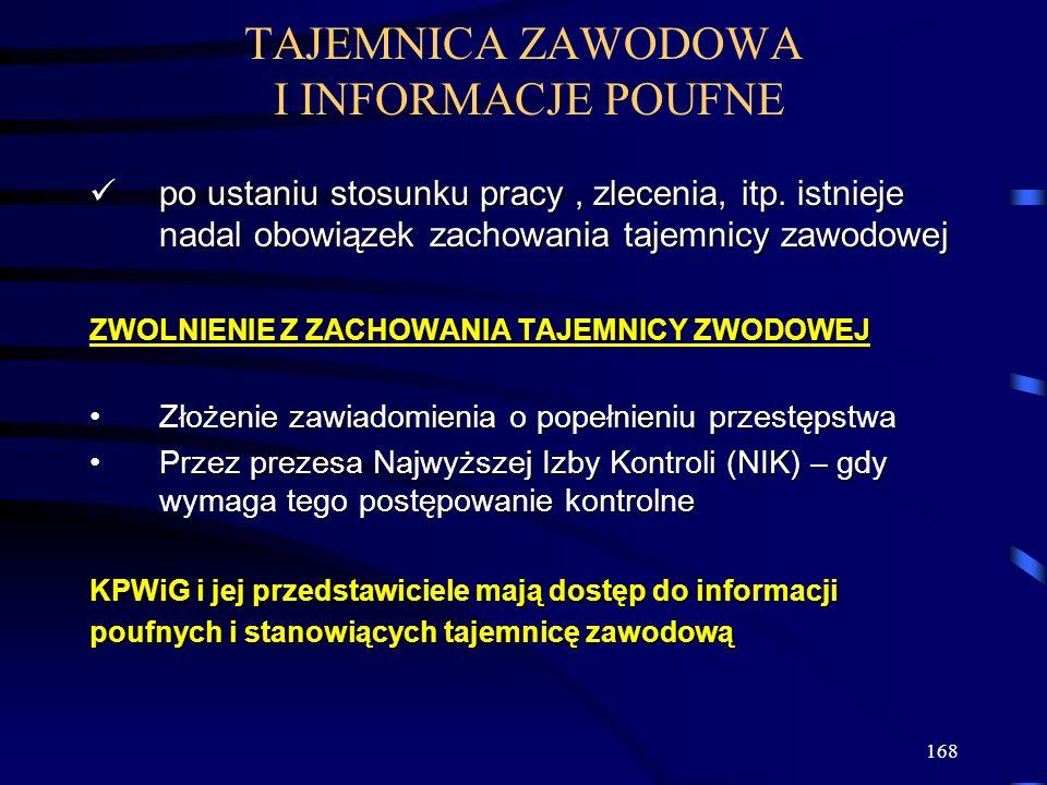 168 TAJEMNICA ZAWODOWA I INFORMACJE POUFNE po ustaniu stosunku pracy, zlecenia, itp.