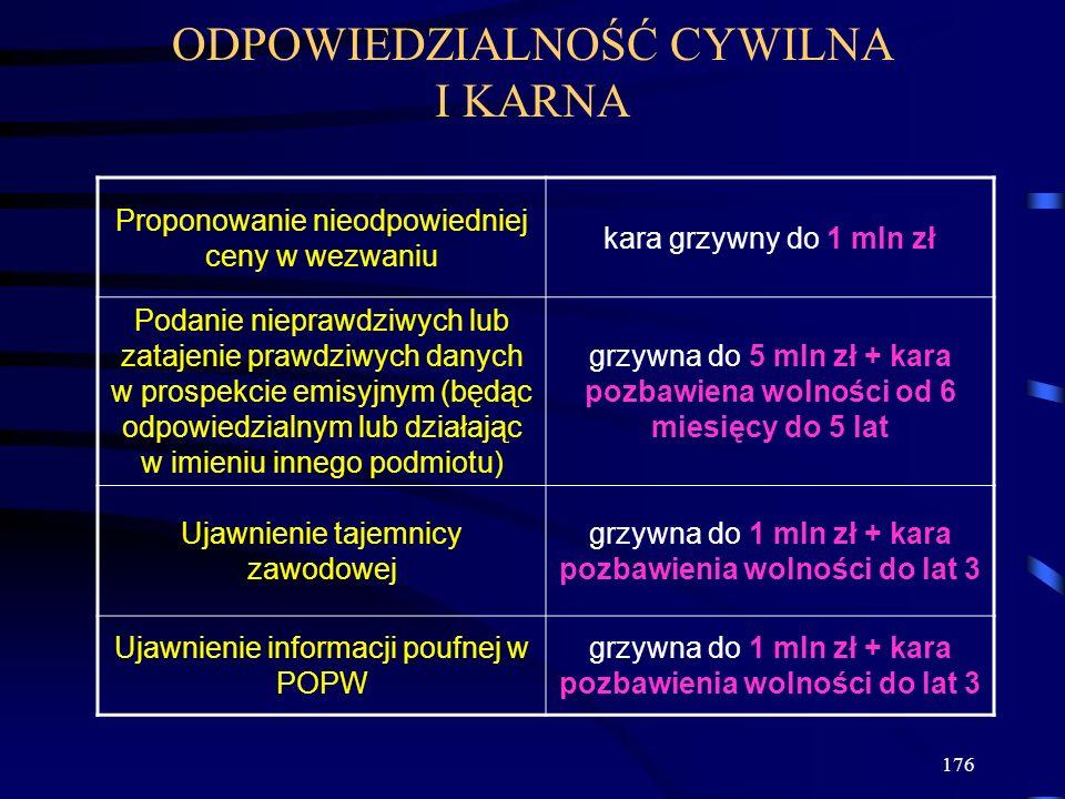 176 ODPOWIEDZIALNOŚĆ CYWILNA I KARNA Proponowanie nieodpowiedniej ceny w wezwaniu kara grzywny do 1 mln zł Podanie nieprawdziwych lub zatajenie prawdz