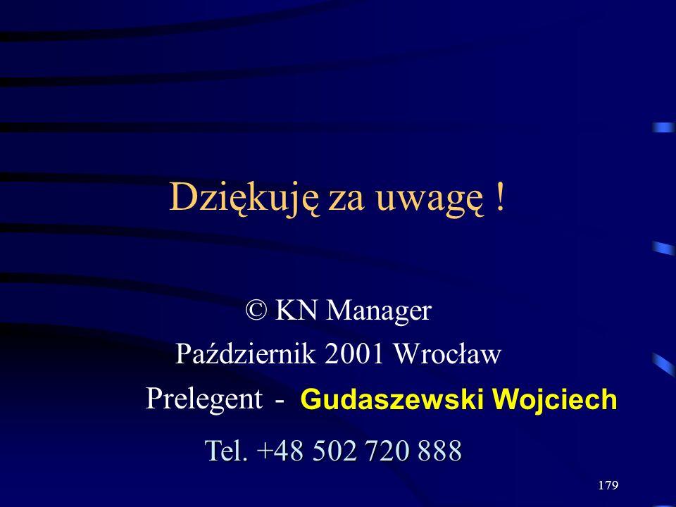179 Dziękuję za uwagę ! © KN Manager Październik 2001 Wrocław Prelegent - Gudaszewski Wojciech Tel. +48 502 720 888