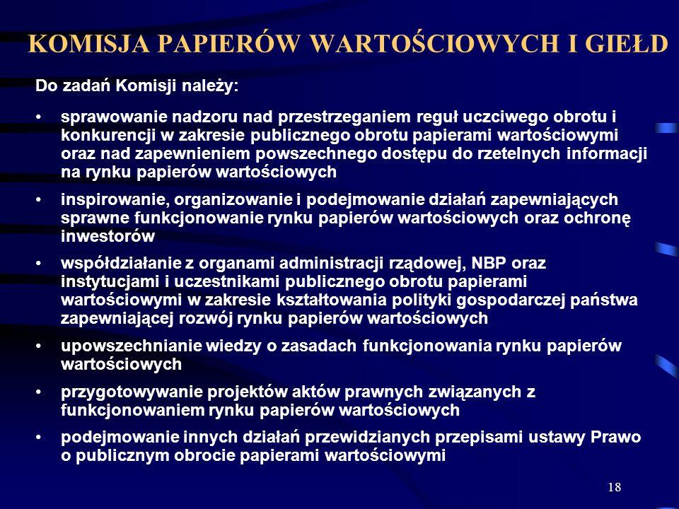 18 Do zadań Komisji należy: sprawowanie nadzoru nad przestrzeganiem reguł uczciwego obrotu i konkurencji w zakresie publicznego obrotu papierami warto