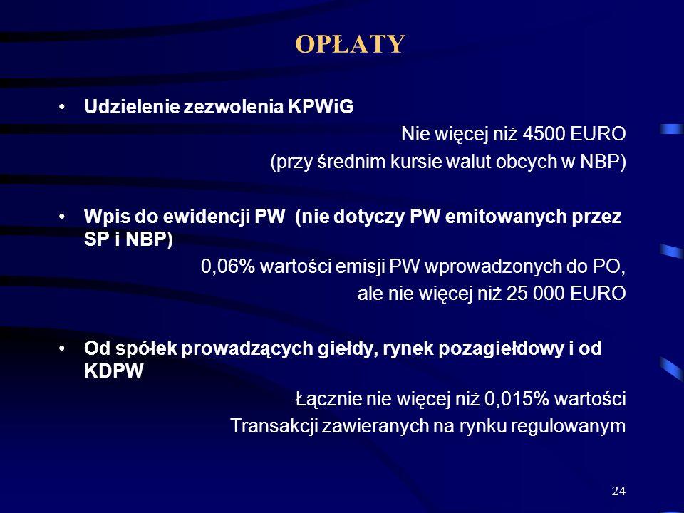 24 Udzielenie zezwolenia KPWiG Nie więcej niż 4500 EURO (przy średnim kursie walut obcych w NBP) Wpis do ewidencji PW (nie dotyczy PW emitowanych przez SP i NBP) 0,06% wartości emisji PW wprowadzonych do PO, ale nie więcej niż 25 000 EURO Od spółek prowadzących giełdy, rynek pozagiełdowy i od KDPW Łącznie nie więcej niż 0,015% wartości Transakcji zawieranych na rynku regulowanym OPŁATY