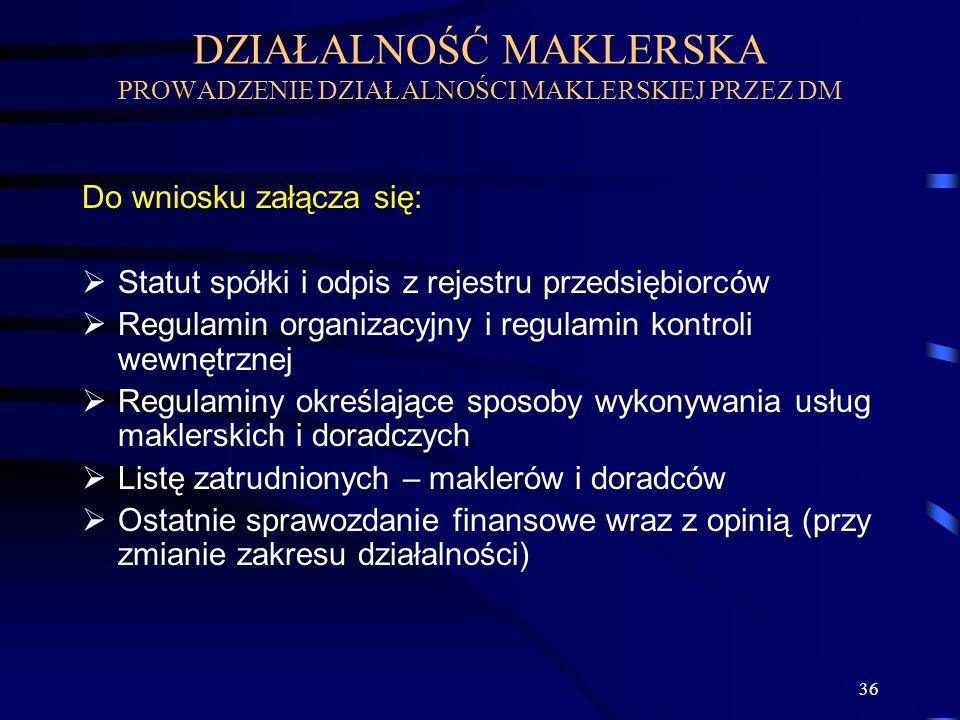 36 Do wniosku załącza się: Statut spółki i odpis z rejestru przedsiębiorców Regulamin organizacyjny i regulamin kontroli wewnętrznej Regulaminy określ