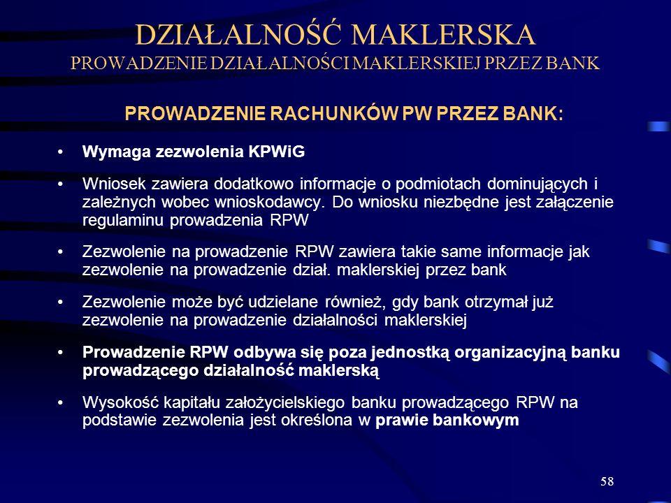 58 PROWADZENIE RACHUNKÓW PW PRZEZ BANK: Wymaga zezwolenia KPWiG Wniosek zawiera dodatkowo informacje o podmiotach dominujących i zależnych wobec wnioskodawcy.