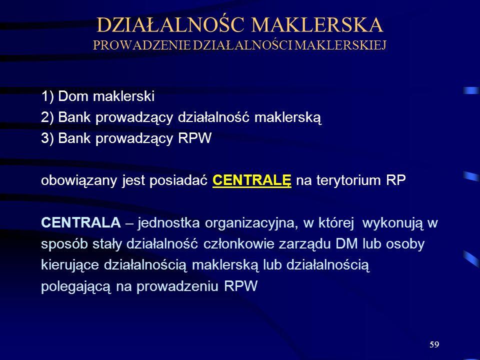59 1) Dom maklerski 2) Bank prowadzący działalność maklerską 3) Bank prowadzący RPW obowiązany jest posiadać CENTRALĘ na terytorium RP CENTRALA – jednostka organizacyjna, w której wykonują w sposób stały działalność członkowie zarządu DM lub osoby kierujące działalnością maklerską lub działalnością polegającą na prowadzeniu RPW DZIAŁALNOŚC MAKLERSKA PROWADZENIE DZIAŁALNOŚCI MAKLERSKIEJ