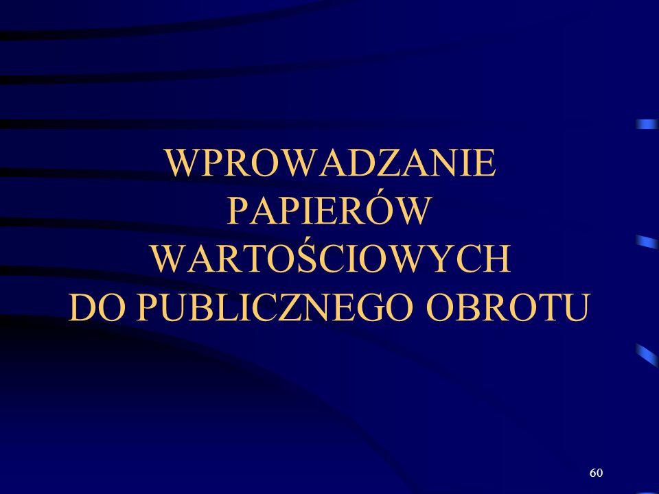 60 WPROWADZANIE PAPIERÓW WARTOŚCIOWYCH DO PUBLICZNEGO OBROTU
