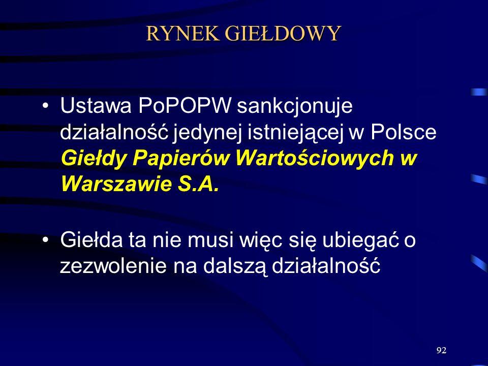 92 Ustawa PoPOPW sankcjonuje działalność jedynej istniejącej w Polsce Giełdy Papierów Wartościowych w Warszawie S.A. Giełda ta nie musi więc się ubieg