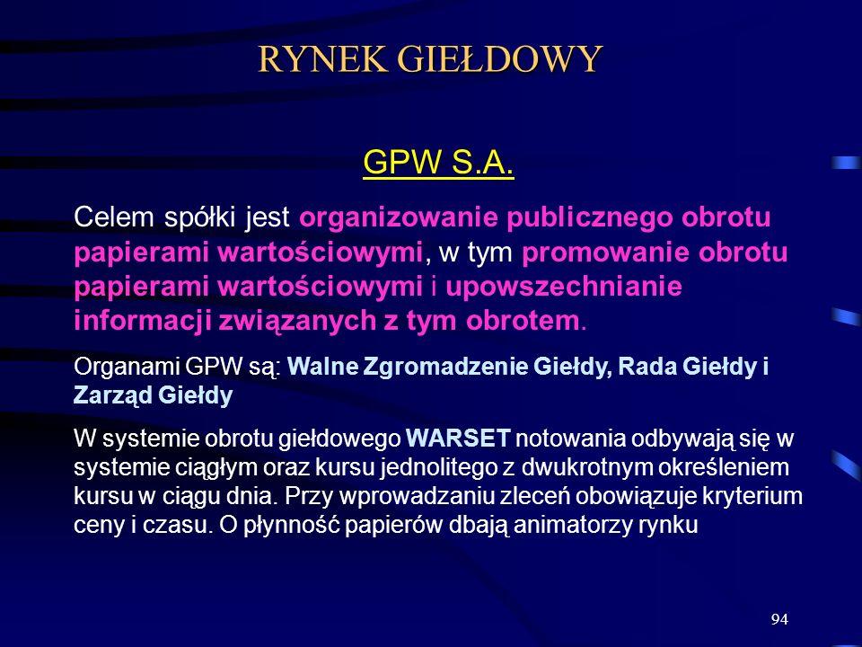 94 GPW S.A. Celem spółki jest organizowanie publicznego obrotu papierami wartościowymi, w tym promowanie obrotu papierami wartościowymi i upowszechnia