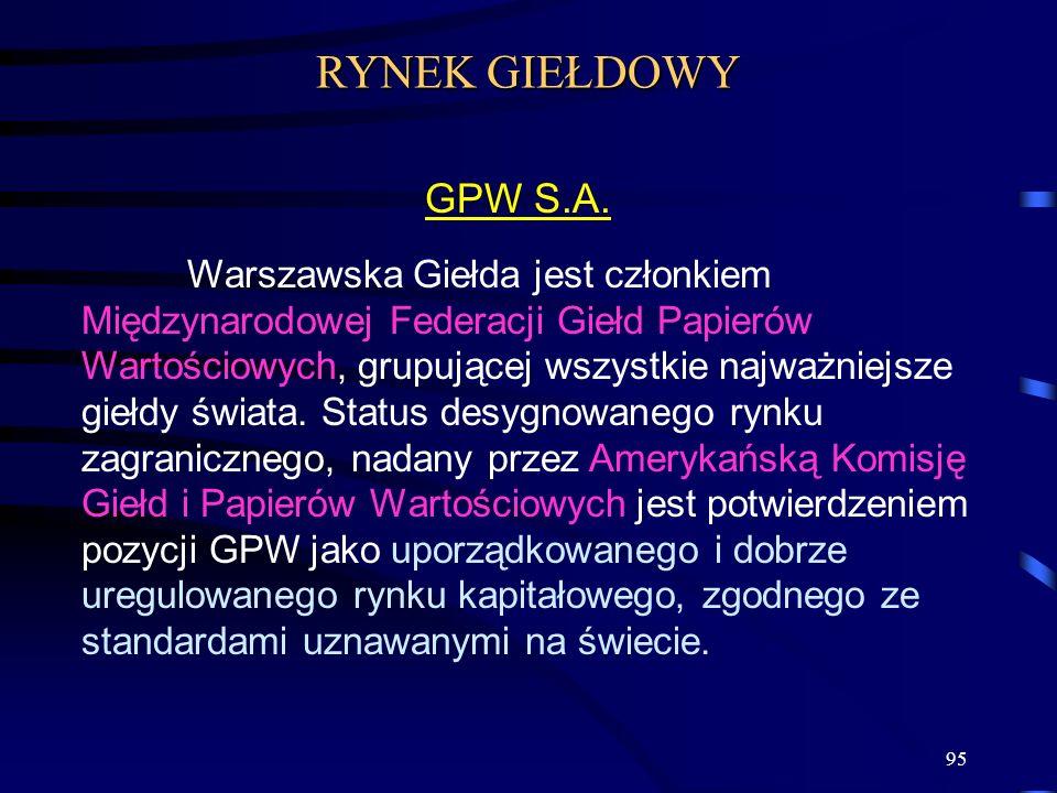 95 Warszawska Giełda jest członkiem Międzynarodowej Federacji Giełd Papierów Wartościowych, grupującej wszystkie najważniejsze giełdy świata. Status d