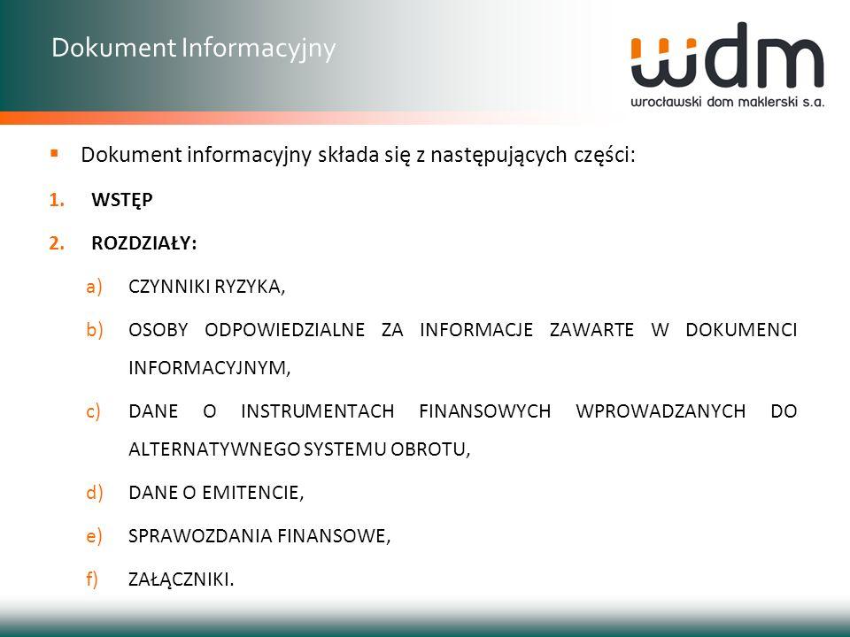 Dokument informacyjny składa się z następujących części: 1.WSTĘP 2.ROZDZIAŁY: a)CZYNNIKI RYZYKA, b)OSOBY ODPOWIEDZIALNE ZA INFORMACJE ZAWARTE W DOKUME