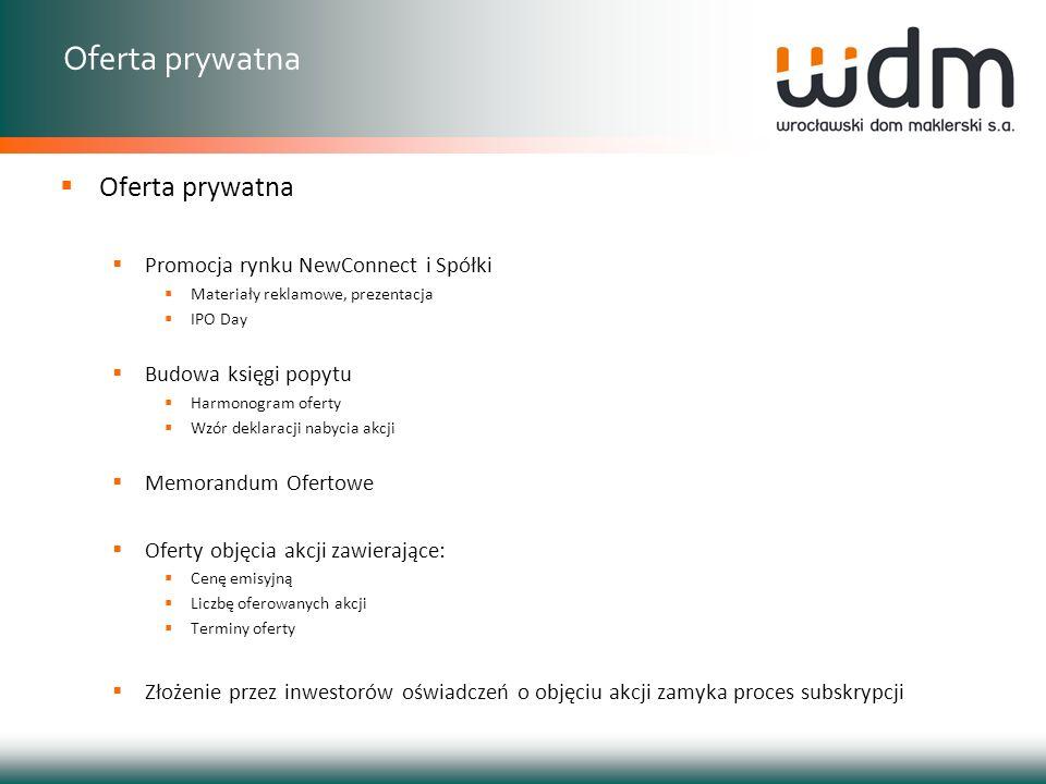 Oferta prywatna Promocja rynku NewConnect i Spółki Materiały reklamowe, prezentacja IPO Day Budowa księgi popytu Harmonogram oferty Wzór deklaracji na