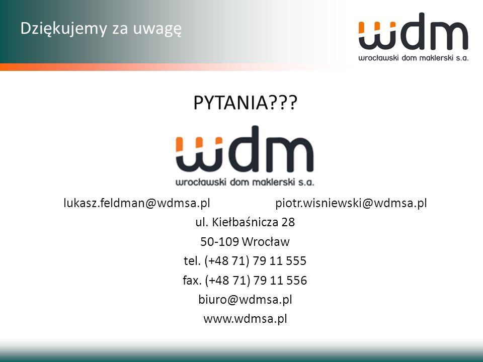 Dziękujemy za uwagę lukasz.feldman@wdmsa.pl piotr.wisniewski@wdmsa.pl ul. Kiełbaśnicza 28 50-109 Wrocław tel. (+48 71) 79 11 555 fax. (+48 71) 79 11 5