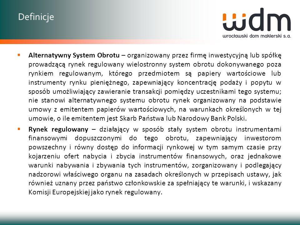 Obrót zorganizowany Rynek regulowany Rynek giełdowy (GPW) Rynek pozagiełdowy (CeTO) Rynek towarowy (WGT) Alternatywny System Obrotu NewConnect