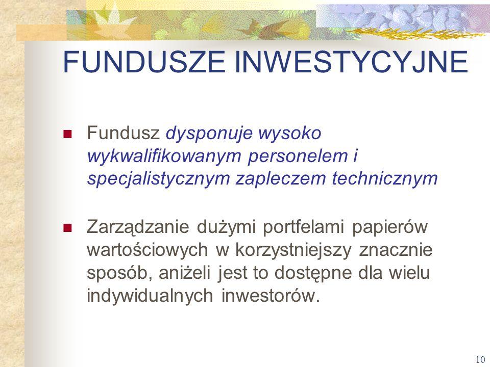 10 Fundusz dysponuje wysoko wykwalifikowanym personelem i specjalistycznym zapleczem technicznym Zarządzanie dużymi portfelami papierów wartościowych