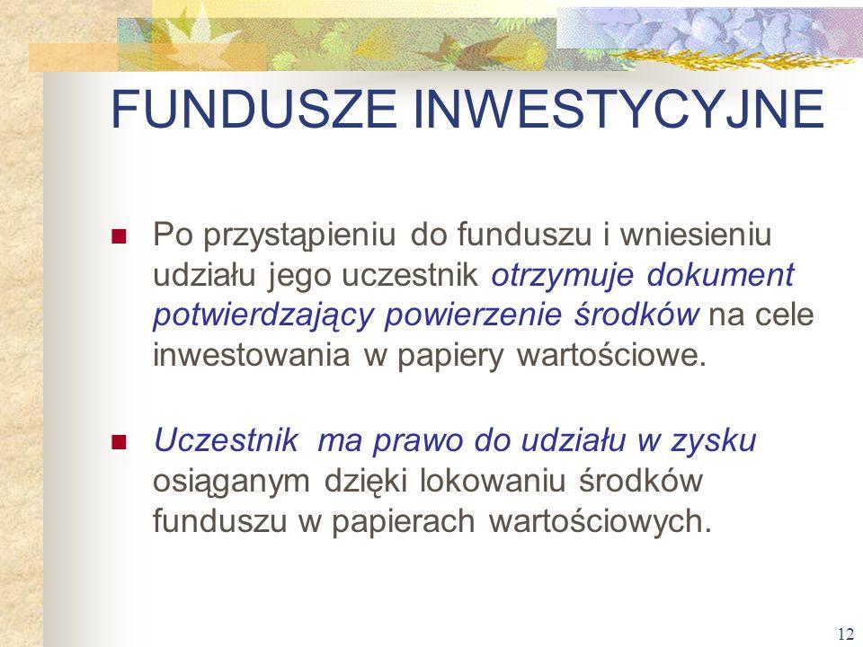 12 Po przystąpieniu do funduszu i wniesieniu udziału jego uczestnik otrzymuje dokument potwierdzający powierzenie środków na cele inwestowania w papie