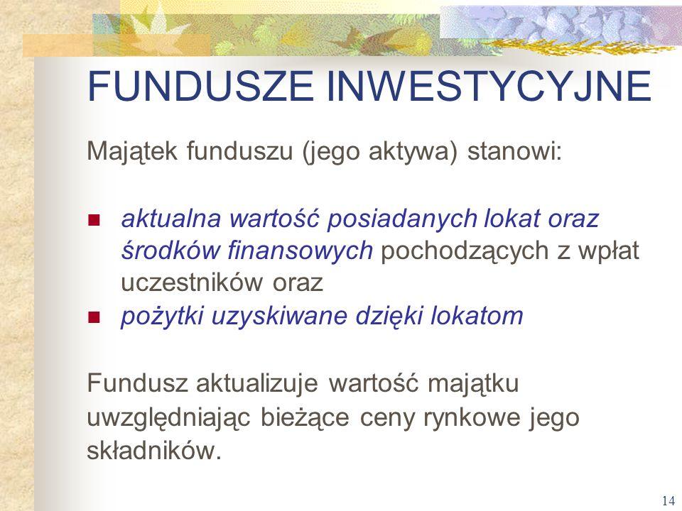 14 Majątek funduszu (jego aktywa) stanowi: aktualna wartość posiadanych lokat oraz środków finansowych pochodzących z wpłat uczestników oraz pożytki u