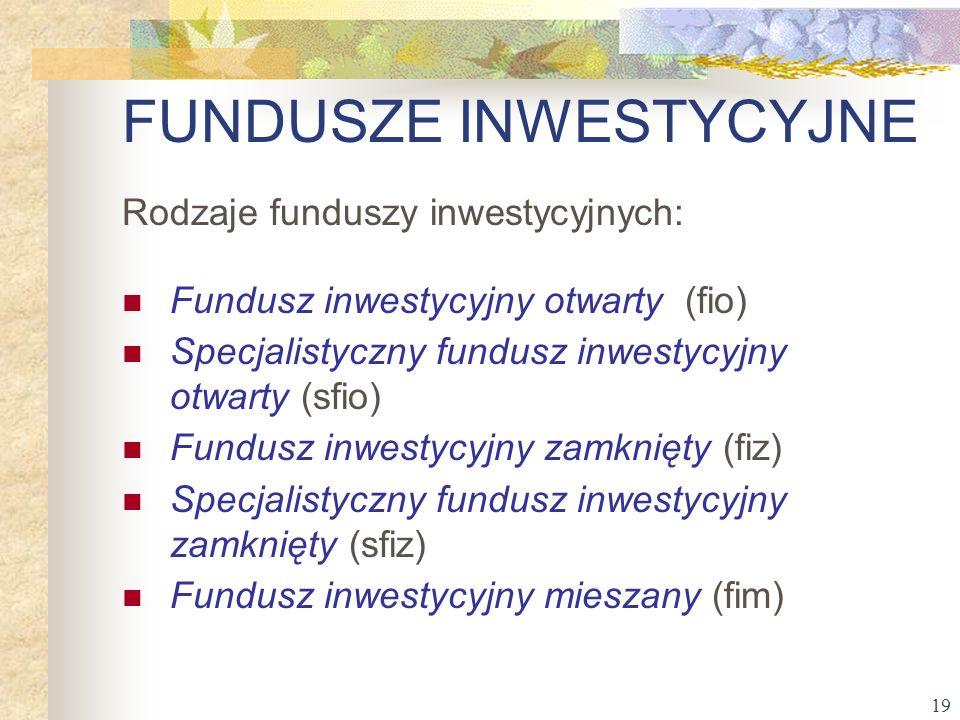 19 FUNDUSZE INWESTYCYJNE Rodzaje funduszy inwestycyjnych: Fundusz inwestycyjny otwarty (fio) Specjalistyczny fundusz inwestycyjny otwarty (sfio) Fundu