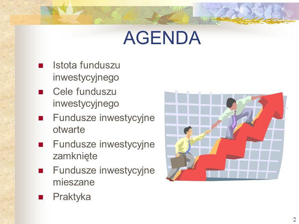 2 AGENDA Istota funduszu inwestycyjnego Cele funduszu inwestycyjnego Fundusze inwestycyjne otwarte Fundusze inwestycyjne zamknięte Fundusze inwestycyj
