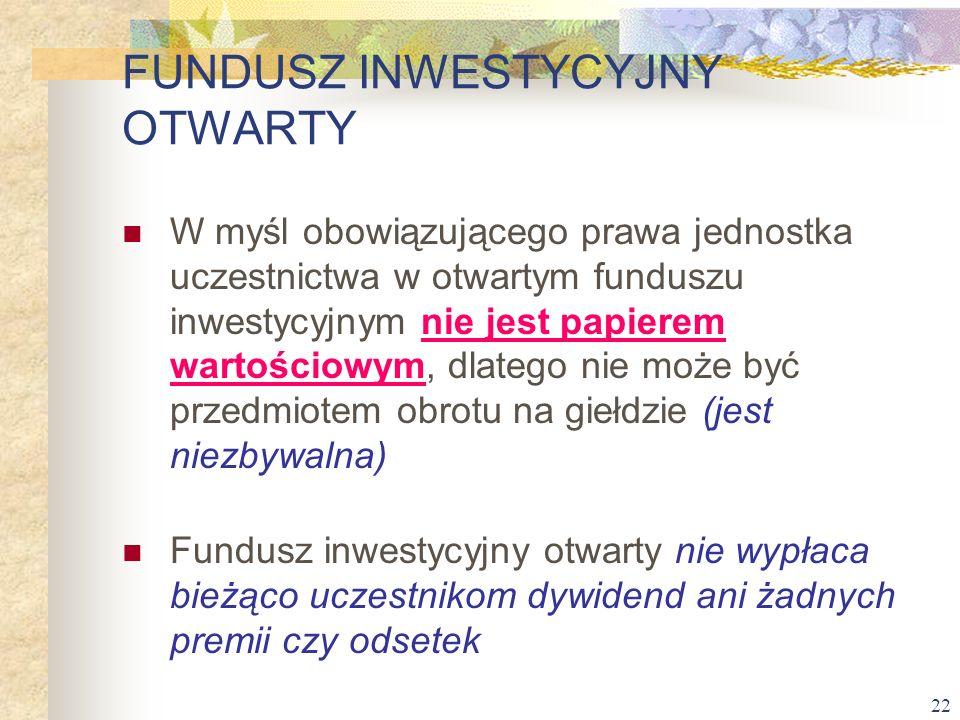 22 W myśl obowiązującego prawa jednostka uczestnictwa w otwartym funduszu inwestycyjnym nie jest papierem wartościowym, dlatego nie może być przedmiot