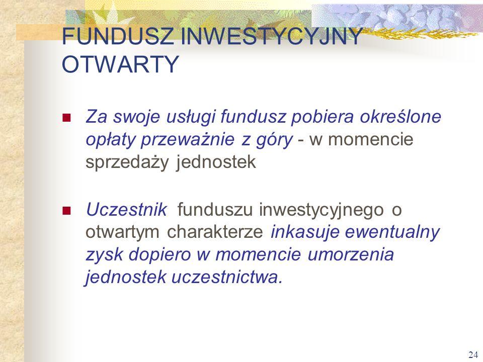 24 Za swoje usługi fundusz pobiera określone opłaty przeważnie z góry - w momencie sprzedaży jednostek Uczestnik funduszu inwestycyjnego o otwartym ch