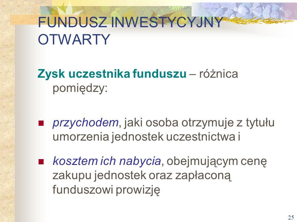 25 Zysk uczestnika funduszu – różnica pomiędzy: przychodem, jaki osoba otrzymuje z tytułu umorzenia jednostek uczestnictwa i kosztem ich nabycia, obej