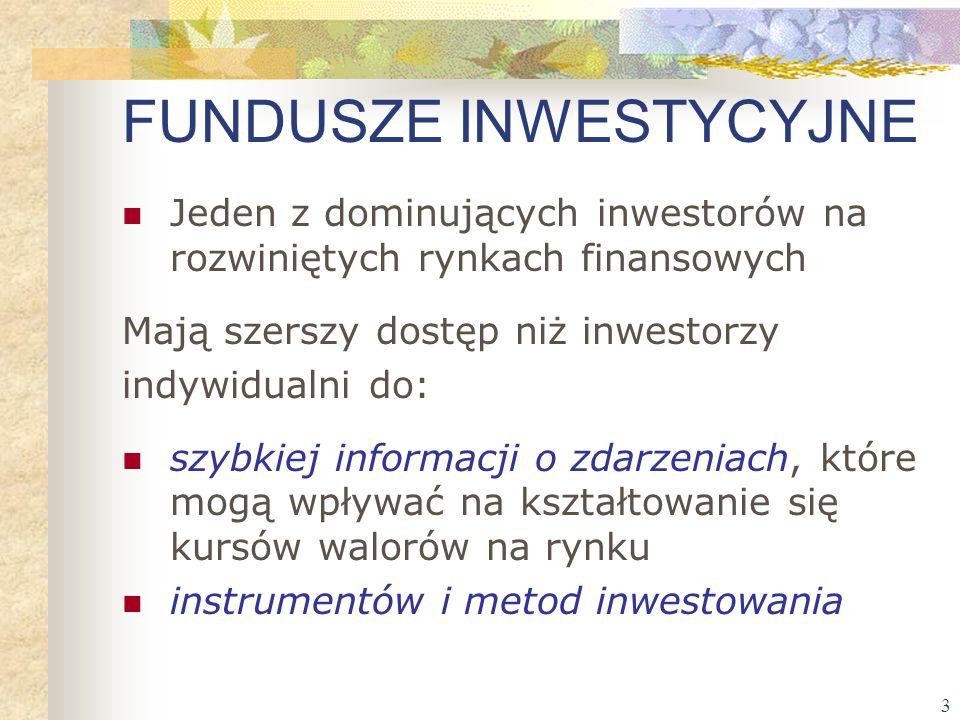 3 FUNDUSZE INWESTYCYJNE Jeden z dominujących inwestorów na rozwiniętych rynkach finansowych Mają szerszy dostęp niż inwestorzy indywidualni do: szybki