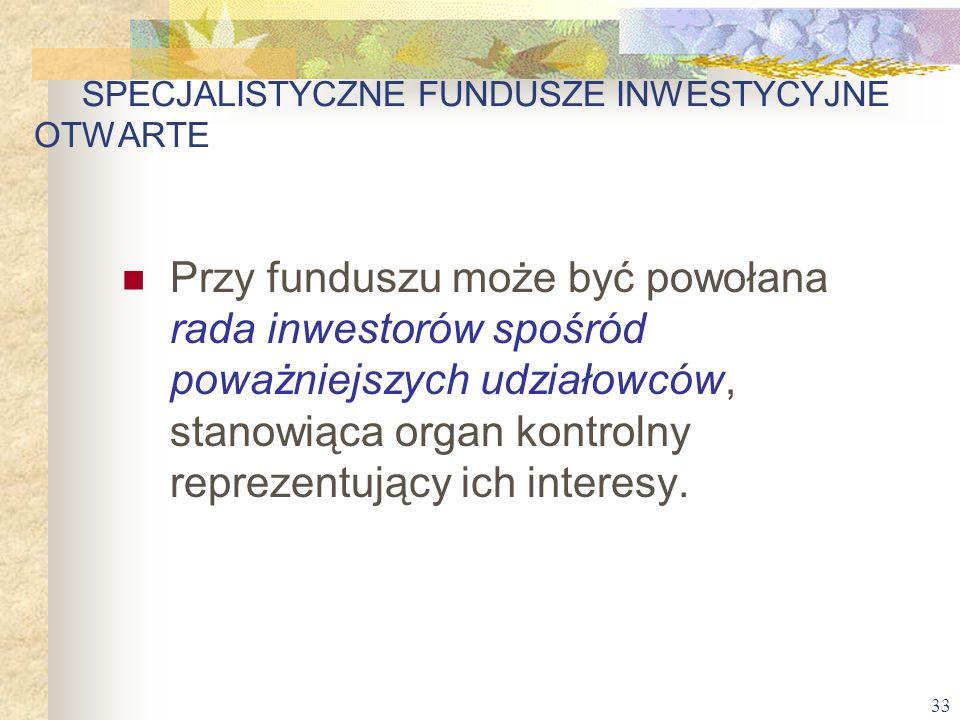 33 Przy funduszu może być powołana rada inwestorów spośród poważniejszych udziałowców, stanowiąca organ kontrolny reprezentujący ich interesy. SPECJAL