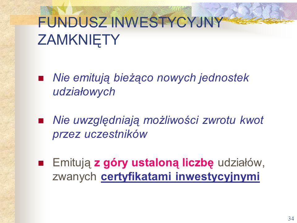 34 Nie emitują bieżąco nowych jednostek udziałowych Nie uwzględniają możliwości zwrotu kwot przez uczestników Emitują z góry ustaloną liczbę udziałów,