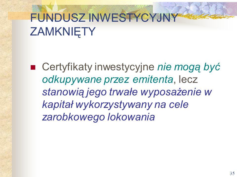 35 Certyfikaty inwestycyjne nie mogą być odkupywane przez emitenta, lecz stanowią jego trwałe wyposażenie w kapitał wykorzystywany na cele zarobkowego