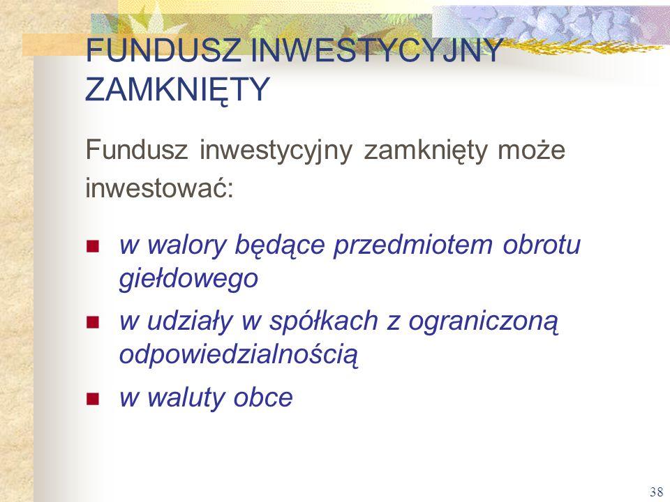 38 Fundusz inwestycyjny zamknięty może inwestować: w walory będące przedmiotem obrotu giełdowego w udziały w spółkach z ograniczoną odpowiedzialnością