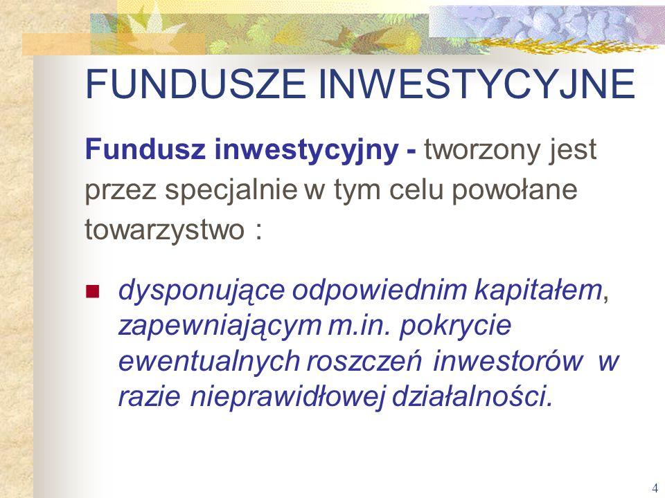 4 Fundusz inwestycyjny - tworzony jest przez specjalnie w tym celu powołane towarzystwo : dysponujące odpowiednim kapitałem, zapewniającym m.in. pokry