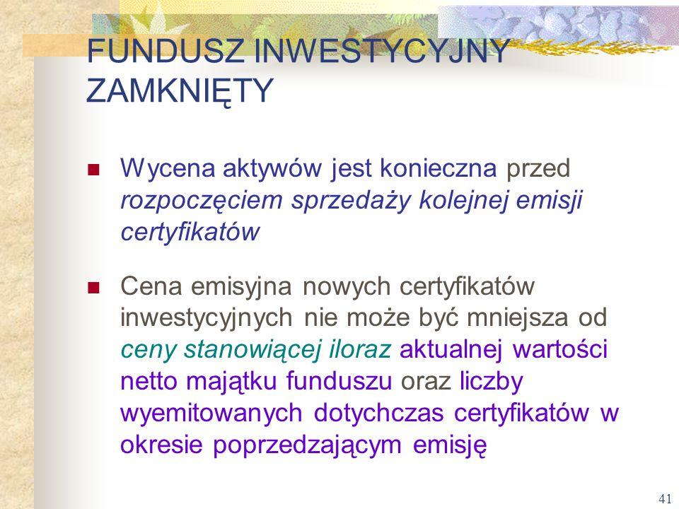 41 Wycena aktywów jest konieczna przed rozpoczęciem sprzedaży kolejnej emisji certyfikatów Cena emisyjna nowych certyfikatów inwestycyjnych nie może b
