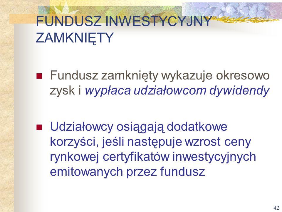 42 Fundusz zamknięty wykazuje okresowo zysk i wypłaca udziałowcom dywidendy Udziałowcy osiągają dodatkowe korzyści, jeśli następuje wzrost ceny rynkow