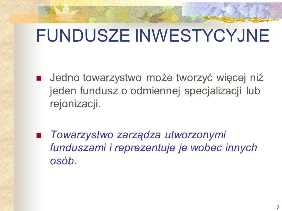 5 Jedno towarzystwo może tworzyć więcej niż jeden fundusz o odmiennej specjalizacji lub rejonizacji. Towarzystwo zarządza utworzonymi funduszami i rep