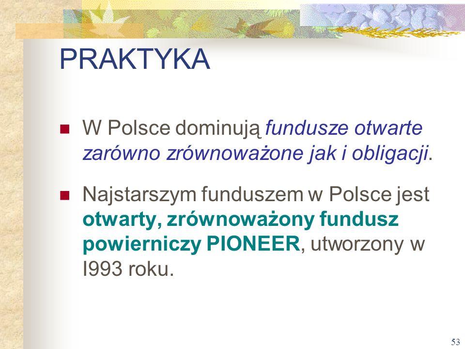 53 W Polsce dominują fundusze otwarte zarówno zrównoważone jak i obligacji. Najstarszym funduszem w Polsce jest otwarty, zrównoważony fundusz powierni