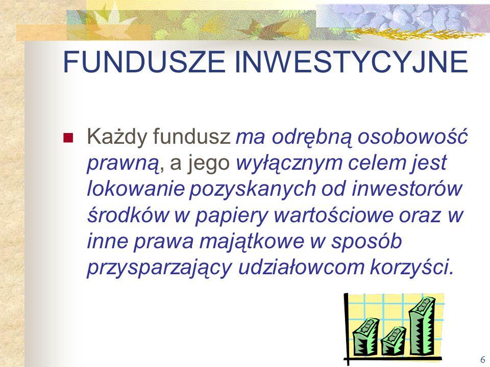 6 Każdy fundusz ma odrębną osobowość prawną, a jego wyłącznym celem jest lokowanie pozyskanych od inwestorów środków w papiery wartościowe oraz w inne