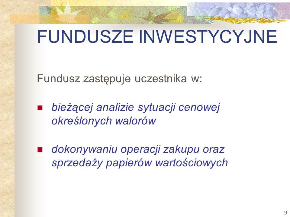 9 Fundusz zastępuje uczestnika w: bieżącej analizie sytuacji cenowej określonych walorów dokonywaniu operacji zakupu oraz sprzedaży papierów wartościo