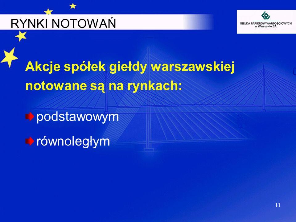 11 RYNKI NOTOWAŃ Akcje spółek giełdy warszawskiej notowane są na rynkach: podstawowym równoległym
