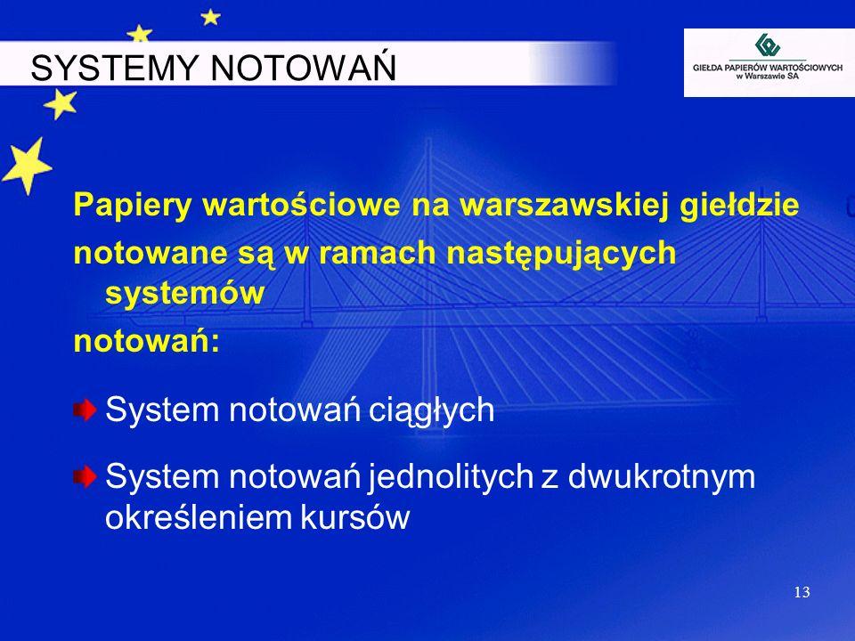 13 SYSTEMY NOTOWAŃ Papiery wartościowe na warszawskiej giełdzie notowane są w ramach następujących systemów notowań: System notowań ciągłych System no