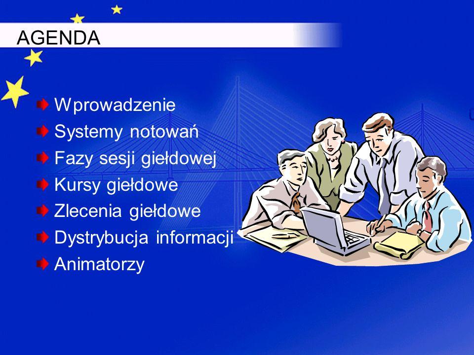 AGENDA Wprowadzenie Systemy notowań Fazy sesji giełdowej Kursy giełdowe Zlecenia giełdowe Dystrybucja informacji Animatorzy