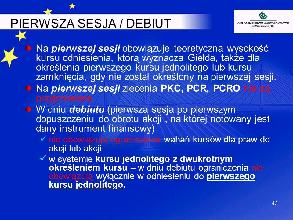 PIERWSZA SESJA / DEBIUT Na pierwszej sesji obowiązuje teoretyczna wysokość kursu odniesienia, którą wyznacza Giełda, także dla określenia pierwszego k
