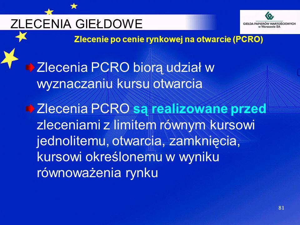 81 Zlecenia PCRO biorą udział w wyznaczaniu kursu otwarcia Zlecenia PCRO są realizowane przed zleceniami z limitem równym kursowi jednolitemu, otwarci