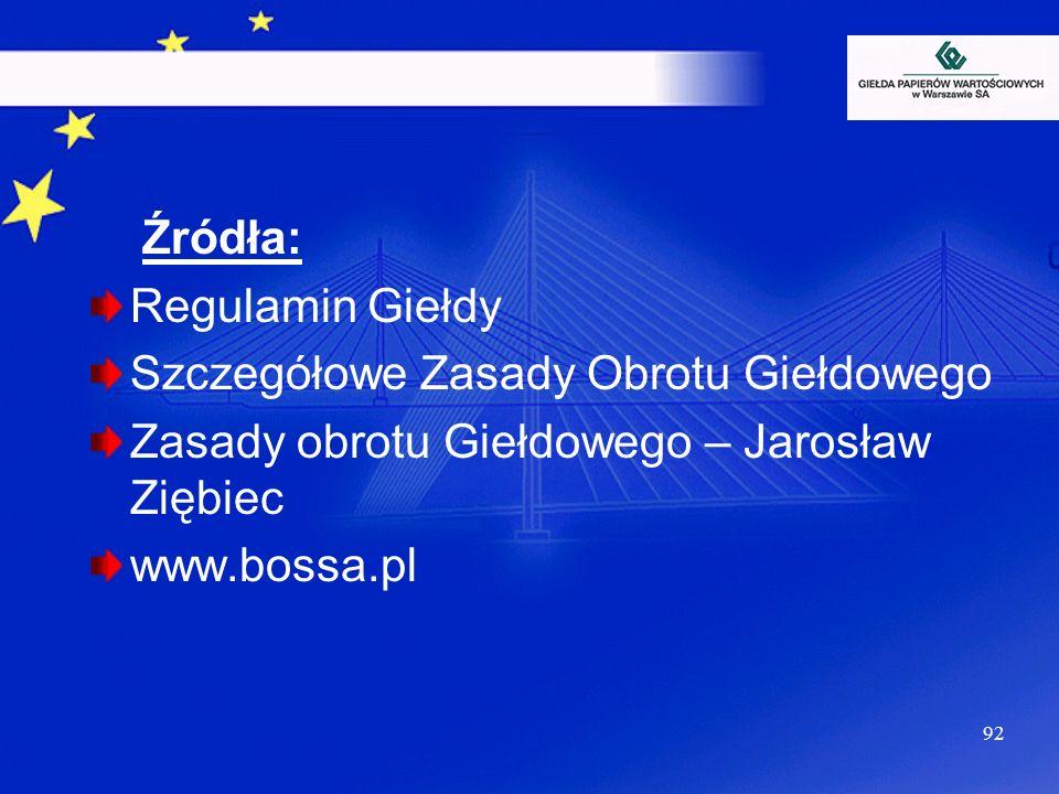92 Źródła: Regulamin Giełdy Szczegółowe Zasady Obrotu Giełdowego Zasady obrotu Giełdowego – Jarosław Ziębiec www.bossa.pl