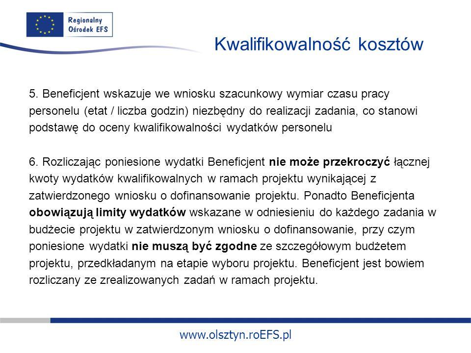 www.olsztyn.roEFS.pl Kwalifikowalność kosztów 5.